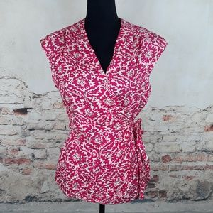 Lilly Pulitzer 10 Pink White Floral Silk Wrap Top